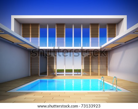 A 3D illustration of modern house in minimalist style. - stock photo