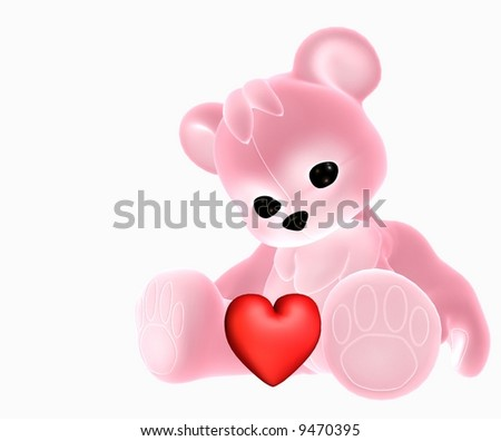 A 3d illustration of pink valentine teddy with red heart - stock photo