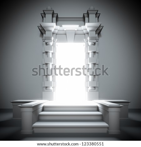 A 3d illustration of white portal to the future with bright light from him. - stock photo
