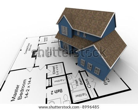 A 3D image of a new house on a set of plans. - stock photo