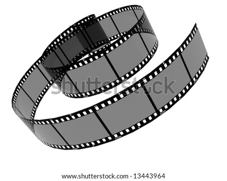 A 3D image of a reel of film. - stock photo