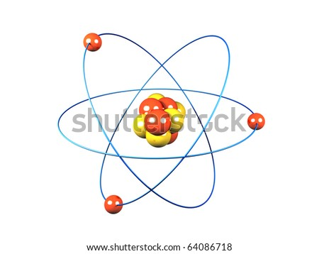A 3d image of atom. Isolated on white.