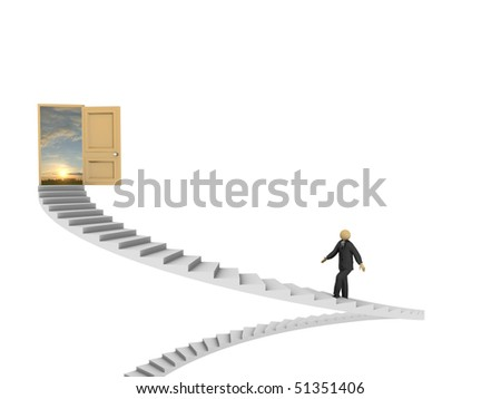 A 3d image of businessman making his way to success.