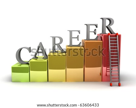A 3d image of career ladder. Isolated on white. - stock photo
