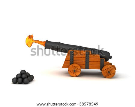 A 3d image of firing cannon, isolated on white background. - stock photo