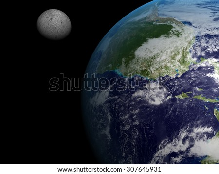 A 3d image of planet Earth with moon. Elements of this image furnished by NASA. - stock photo