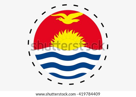 A 3D Isometric Flag Illustration of the country of Kiribati