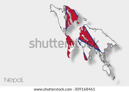 A 3D Isometric Flag Illustration of the country of  Nepal