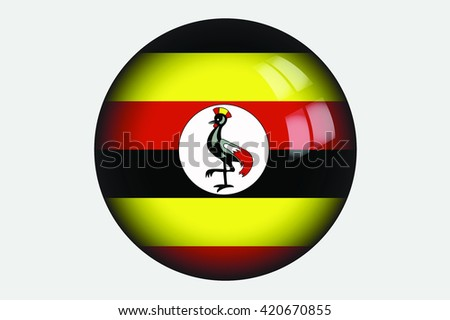 A 3D Isometric Flag Illustration of the country of Uganda - stock photo