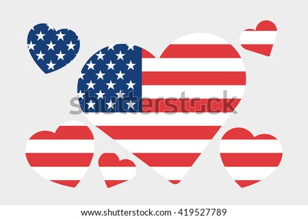 A 3D Isometric Flag Illustration of the country of United States of America