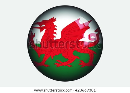 A 3D Isometric Flag Illustration of the country of Wales