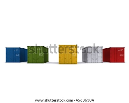 A 3d made Container on a white background - stock photo