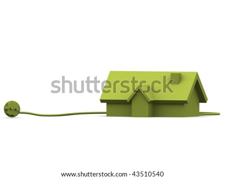 A 3d made house on a white background - stock photo