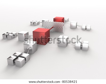 a 3d made network grid - stock photo