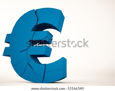 A 3d maded brocken euro symbol - stock photo