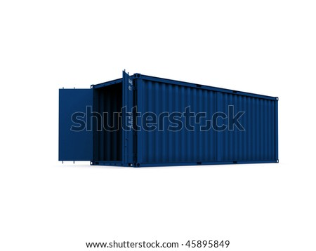 A 3d maded Container on a white background - stock photo