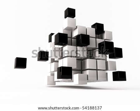 a 3d maded cube on a white background