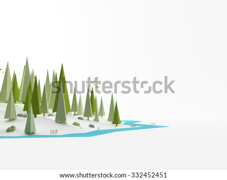 a 3d maded low ploy landscape - stock photo