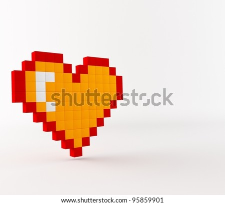 a 3d maded pixel images - stock photo