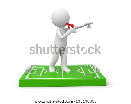 A 3d man Blowing his whistle on a football field model - stock photo