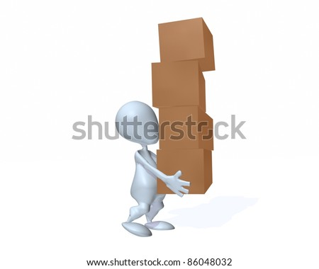 A 3d man carrying boxes - stock photo