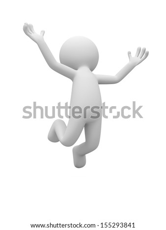 A 3d man character jumping on isolated white background