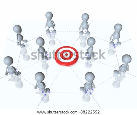 A 3d man communication network team - stock photo