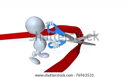 A 3d man cutting red tape. - stock photo