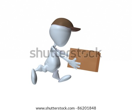 A 3d man delivering a box - stock photo