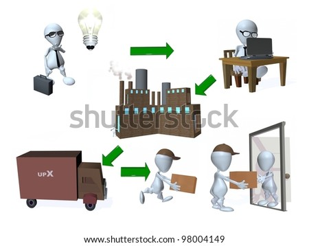 A 3d man factory distribution supply chain - stock photo