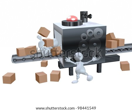 A 3d man failed assembly line supply chain - stock photo