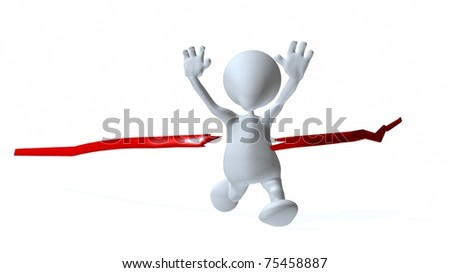 A 3d man finishing a race - stock photo