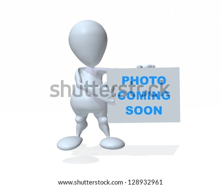 A 3d man holding a photo coming soon sign