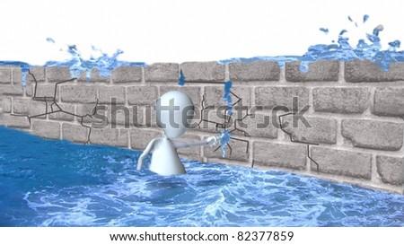A 3d man holding back a dam - stock photo
