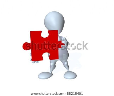 A 3d man holding the missing puzzle piece