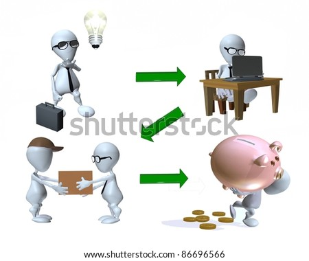 A 3d man idea to product sale - stock photo