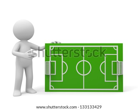 A 3d man introducing, nearby a football field model - stock photo