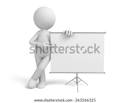 a 3d man introducing something, standing by a flip-chart