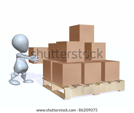 A 3d man loading boxes on a pallet - stock photo