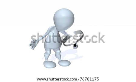 A 3d man looking through a magnifying glass - stock photo