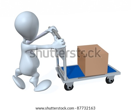 A 3d man moving a box using a four wheel cart