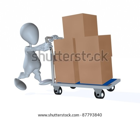 A 3d man moving boxes on a four wheel cart - stock photo