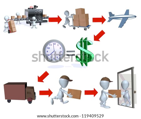 A 3d man on time delivery with dollar symbol - stock photo