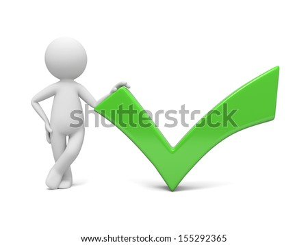A 3d man � people, person standing by green check mark - stock photo