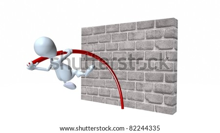 A 3d man pole vaulting over a brick wall - stock photo