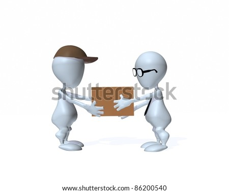 A 3d man receiving a delivery box - stock photo