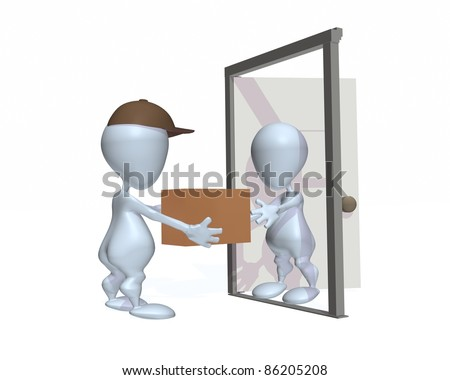 A 3d man receiving a package at the door - stock photo