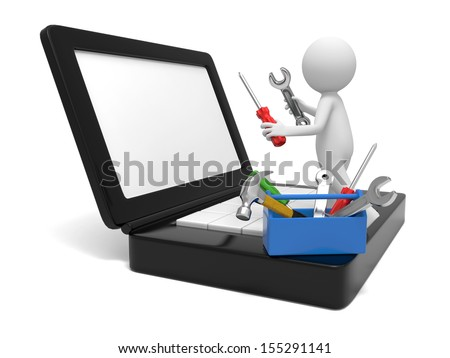 A 3d man repairing a computer with tools - stock photo