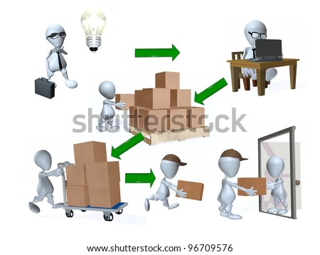 A 3d  man representation of a supply chain - stock photo