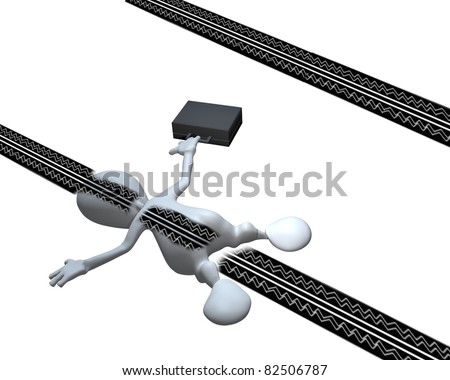 A 3d man run over with tire marks on his back - stock photo